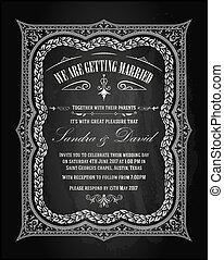 型, 結婚式, card., 招待