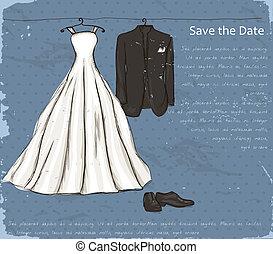 型, 結婚式, dress., ポスター