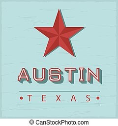 型, 背中, 印, 木, 緑, オースティン, テキサス