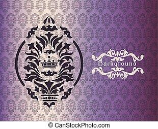 型, 背景, 装飾, ダマスク織