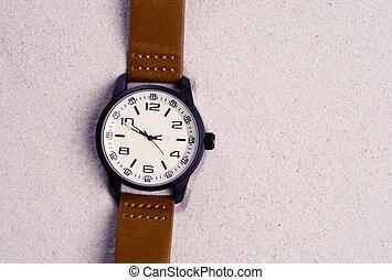 型, 腕時計, フォーカス, 砂, 精選する, 浜
