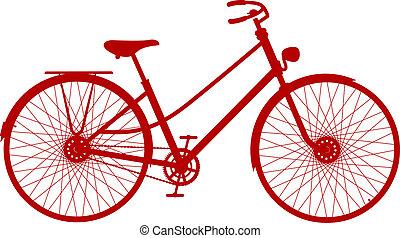 型, 自転車, 中に, 赤, デザイン