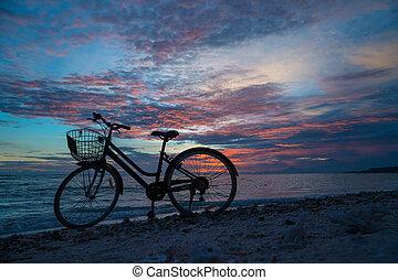 型, 自転車, 浜, シルエット, 日没