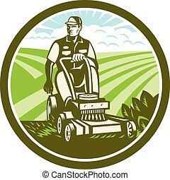 型, 芝生, レトロ, 乗車, 芝刈り機