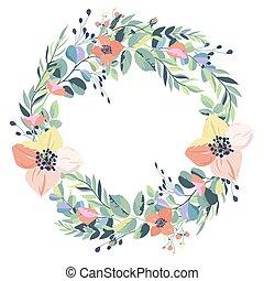 型, 花輪, バックグラウンド。, ベクトル, 白い花