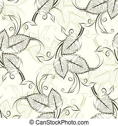 型, 葉, ベクトル, seamless, パターン