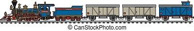 型, 蒸気, アメリカ人, 列車