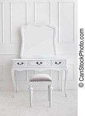 型, 虚栄心テーブル, セット, ∥で∥, 腰掛け, そして, 鏡