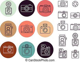 型, 要素, セット, カメラ, アイコン