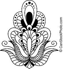 型, 要素, 黒, 華やか, 花, 白