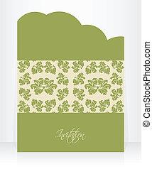 型, 記念日, 招待, デザイン, 特別, 花, カード