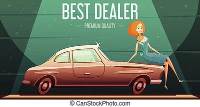 型, 販売ポスター, レトロ, 車 ディーラー