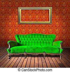 型, 贅沢, 肘掛け椅子, そして, フレーム, 中に, 部屋