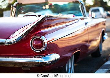型 車, 駐車される, 赤, キューバ