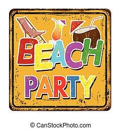型, 金属の印, 錆ついた, パーティー, 浜