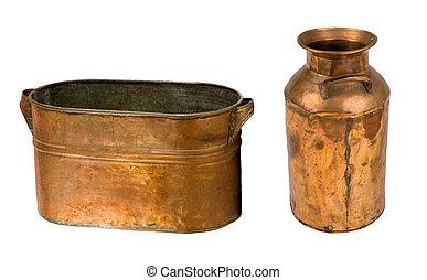 型, 銅, 缶, そして, 水差し