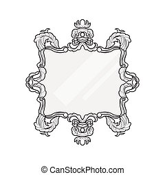 型, 鏡, frame., ベクトル, コレクション, の, ラウンド, そして, 広場, 型, フレーム, デザイン要素