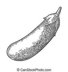 型, 隔離された, イラスト, ベクトル, 黒い背景, 白, 刻まれる, eggplant.