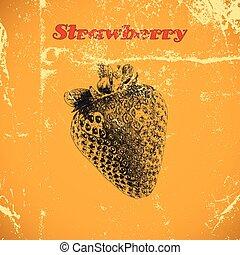 型, 隔離された, フルーツ, 手, ベクトル, strawberry., イラスト, 背景, インク, 引かれる, 白