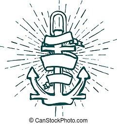型, 隔離された, ベクトル, engrave., 海洋, 錨