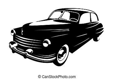 型, 隔離された, レトロ, 背景, 自動車, 白