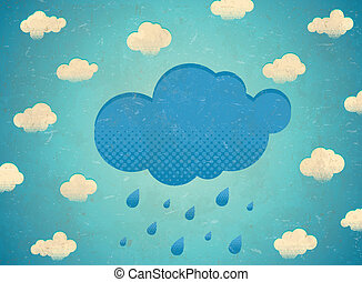 型, 雨, 年を取った, 雲, カード