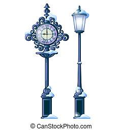 型, 雪が多い, 通り, 時計, ∥で∥, 華やか, ダイヤル, そして, streetlight, 隔離された, 白, バックグラウンド。, サンプル, の, クリスマス と 新年, グリーティングカード, お祝い, ポスター, ∥あるいは∥, パーティー, invitations., ベクトル, 漫画, close-up.