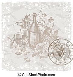 型, 静かな 生命, -, ワイン, そして, 食物