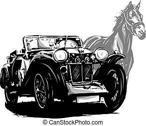 型, 馬, elements., 自動車, invitation., デザイン, 結婚式