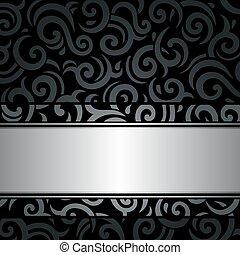 型, 黒, 銀, 背景, &