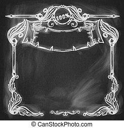 型, banner., 背景, chalkboard.