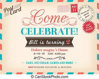型, birthday, デザイン, カード
