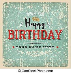 型, birthday, レトロ, カード