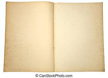 型, book., ペーパー, ブランク, 黄色くなる, ページ