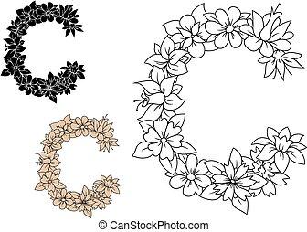 型, c, 花, 手紙, 資本