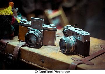型, cameras, 古い, レトロ, スーツケース