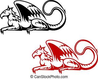 型, heraldic, グリフィン