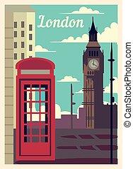 型, illustration., ロンドン, ベクトル, ポスター, 都市, レトロ, スカイライン