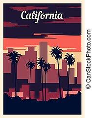 型, illustration., skyline., ポスター, カリフォルニア, ベクトル, 都市, レトロ