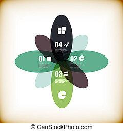 型, infographic, 花, テンプレート