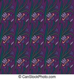型, irises., パターン, seamless