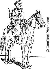 型, kalmyk, 射手, kalmuck, 馬, ∥あるいは∥, engraving.