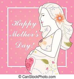 型, mother's, 日, カード, 幸せ
