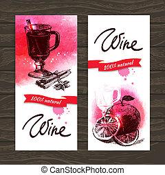 型, mulled, 手, 水彩画, バックグラウンド。, イラスト, 引かれる, 旗, ワイン