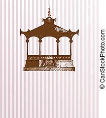 型, pavilion., 古い, カード
