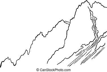 型, pelvoux, 山麓の丘, engraving.