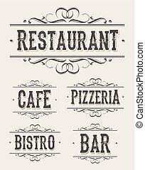 型, pizzeria, 旗, レストラン