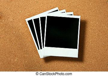 型, polaroid, フレーム, 上に, コルク