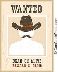 型, poster.western, 顔, ペーパー, 肖像画, 望まれる