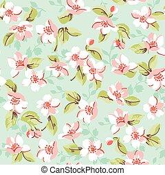 型, -, seamless, ベクトル, 背景, さくらんぼ, 花のパターン